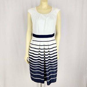 Tahari Blue and White Striped pleat Dress